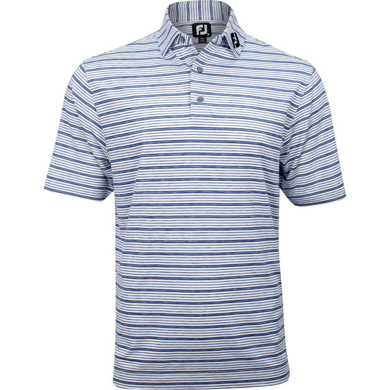 767fb2b438 FootJoy Tour Logo ProDry Performance Lisle Space Dye Stripe White M Shirt  Polo Short Sleeve